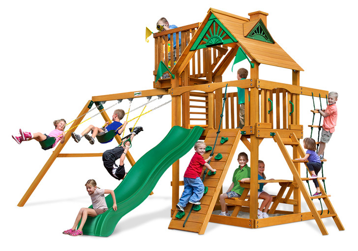 Studio shot of Chateau W/ Sky Loft Wood Play set from Gorilla Playsets