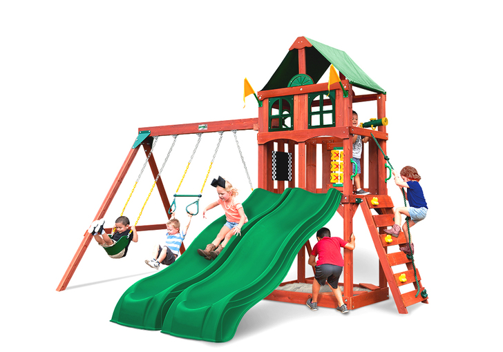 Front view of Playmaker Deluxe Play Set from Gorilla Playsets.