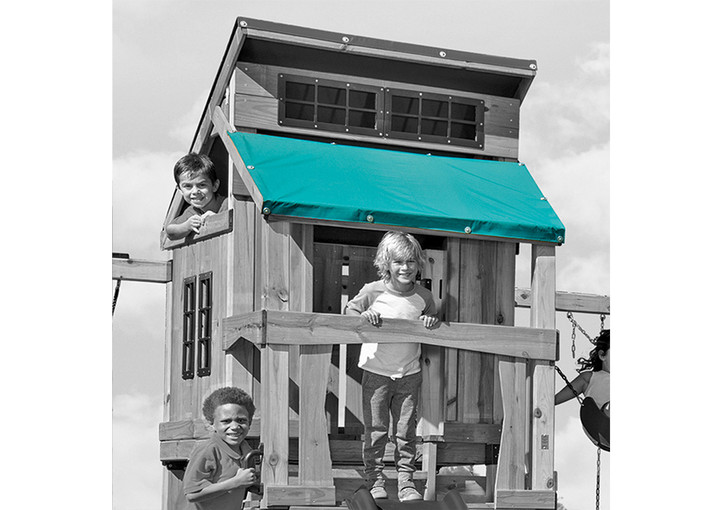 Outdoor shot of Hideaway Replacement Tarp with kids from Gorilla Playsets