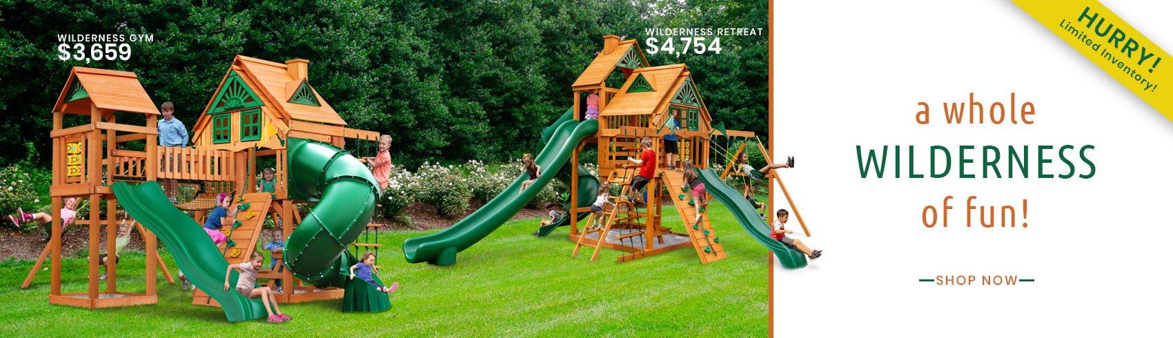 Discover a wilderness of fun with the Wilderness Gym and Wilderness Retreat Play sets!