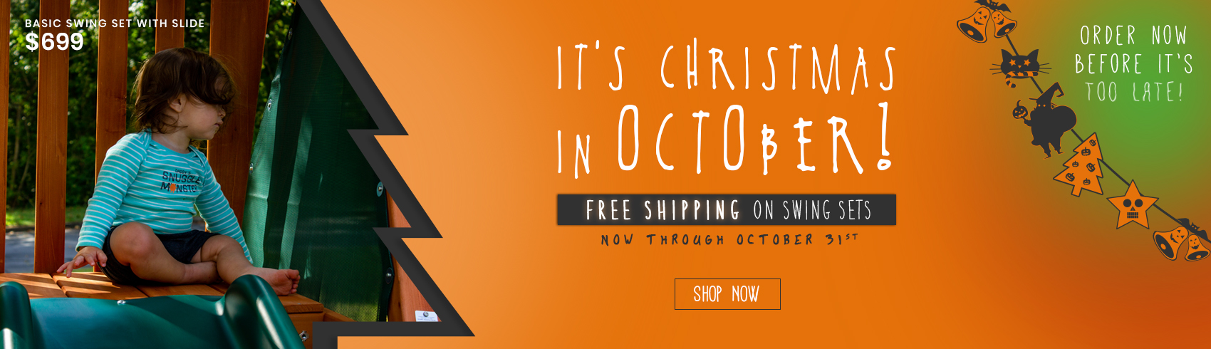 It's the most spookiest time of year with free shipping on all of our swing sets!