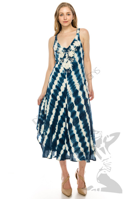 60162-Laced strap Tie dye Dress