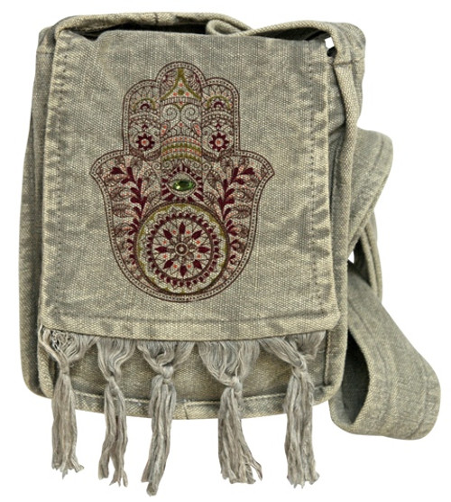 Small Humsa Bag with flap and fringe