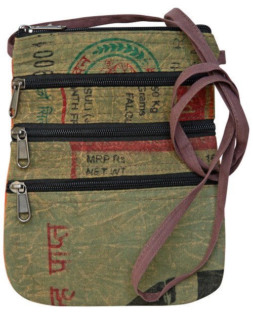 Rice bag material - small bag w/ 5 zipper compartments