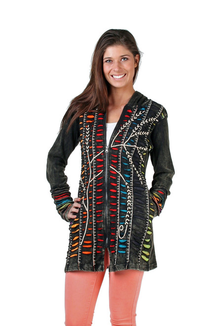 Long waisted cotton Jacket with hood and beautiful trim work