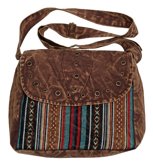 Perfect size stonewashed bag for everyday use - flap has cool metal studs