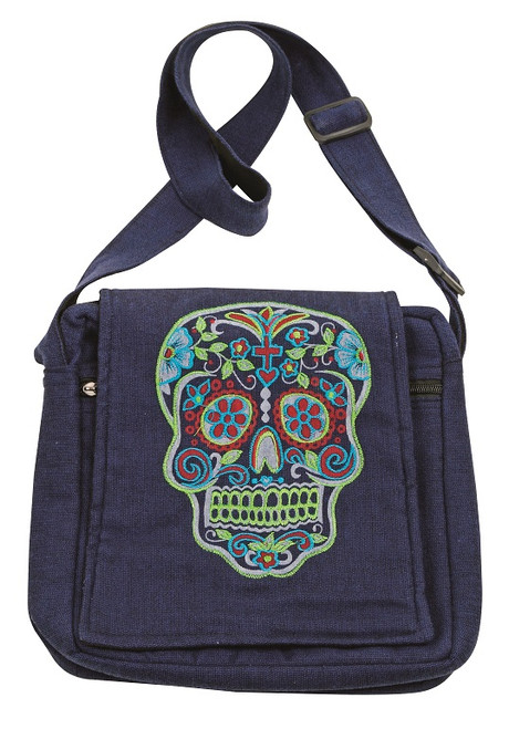 Embroidered Day of the Dead Skull on an adjustable flap bag. Front zipper pocket and zipper close