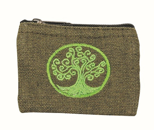 full blossom Tree of Life embroidery coin purse