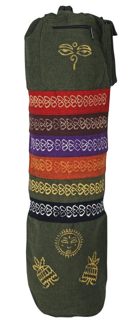 Cotton Yoga Bag Outside pocket, inside zipper pocket and 7 beautiful embroidered Chackras - Hand Made in Nepal