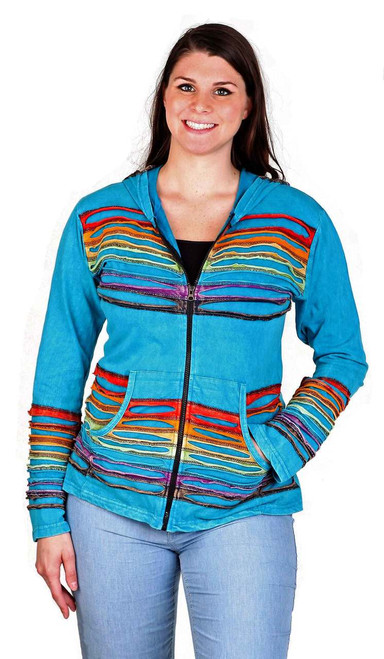 Light Cotton Zip Hoody with Rainbow Cut Work Design Color as shown