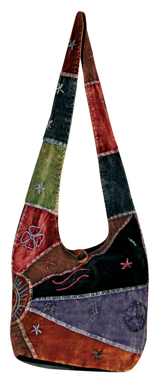 Medium size hobo bag with thin corduroy and velvet patchwork - zipper close long purse