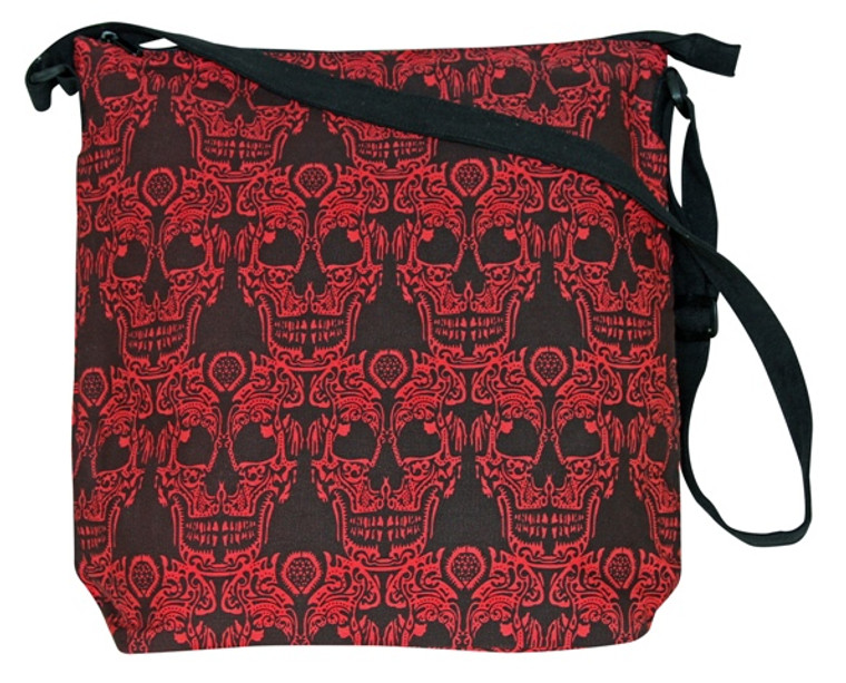 """Red Skull 17"""" x 16""""  - Zipper close and adjustable Strap"""