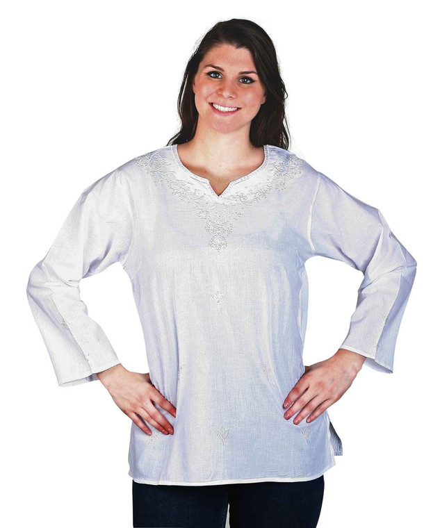 Long White Sleeve top with embroidery & sequins