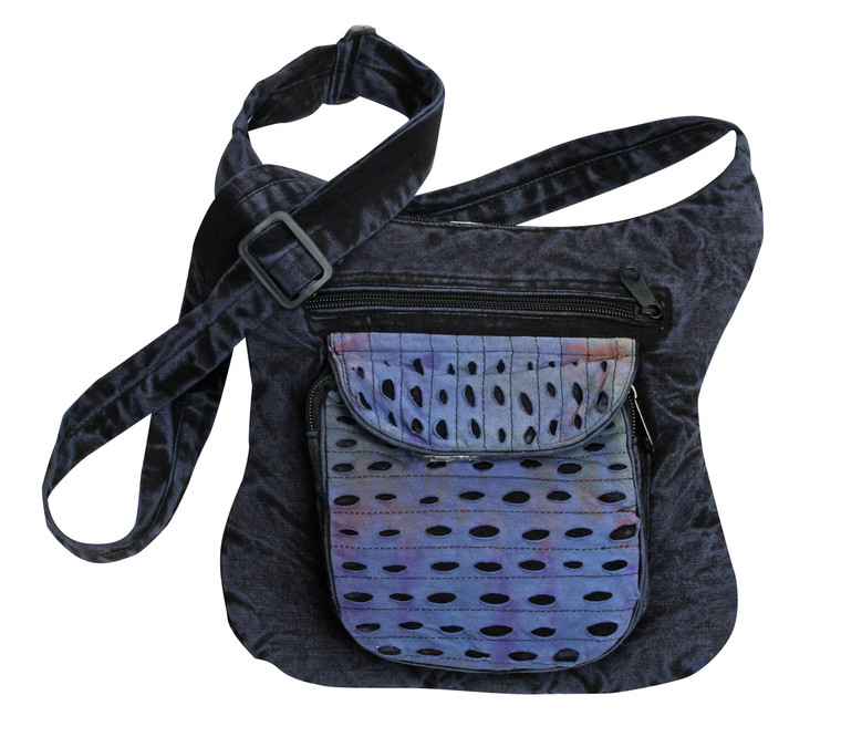 Medium size shoulder bag with zipper close and large pocket w/ cool tie dye cut material