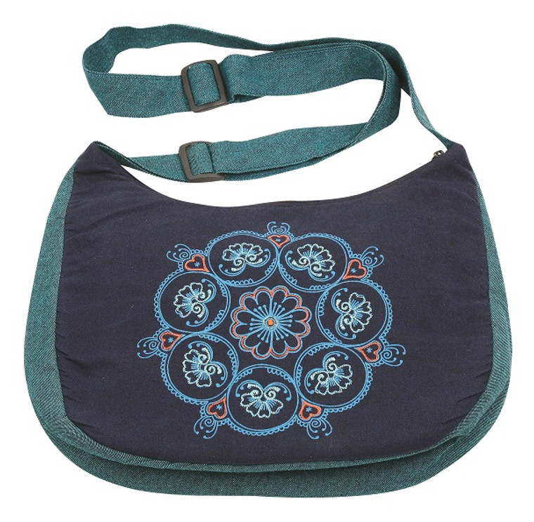 Ladies Bag - zipper close - adjustable strap. Beautiful embroidery