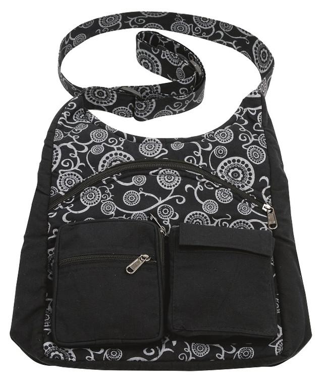3 Pocket Ladies Handbag with vine block print - adjustable strap