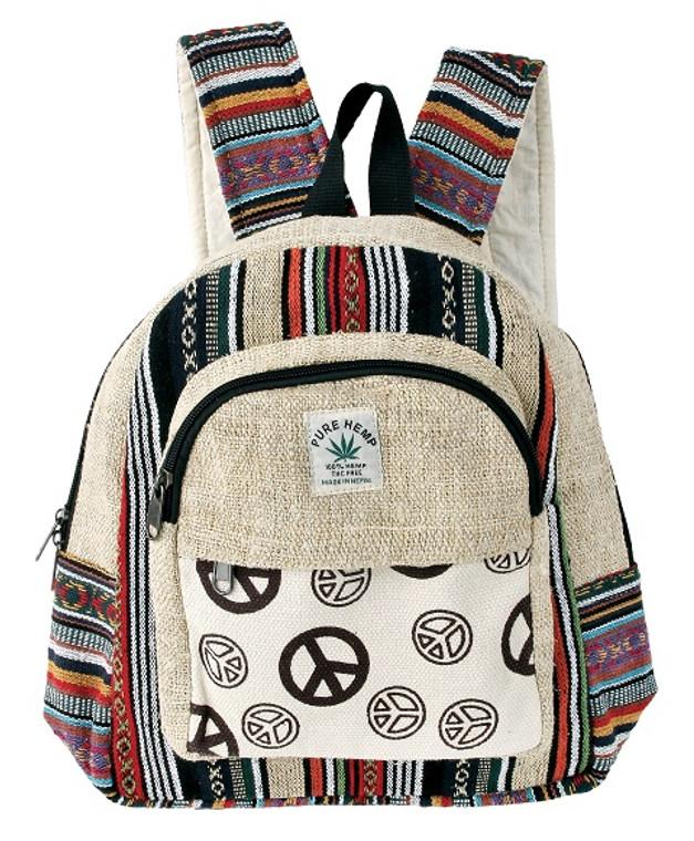 Hemp Medium Back Pack with Peace patchwork