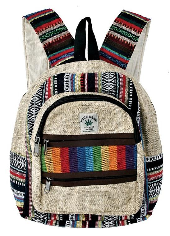 Hemp Medium Back Pack with Rainbow patchwork