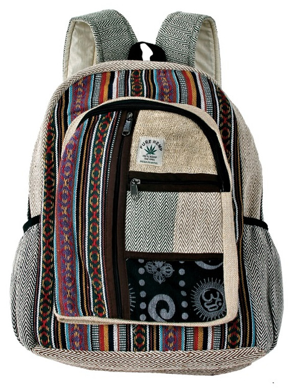 Hemp Large Back Pack with patchwork and many pockets