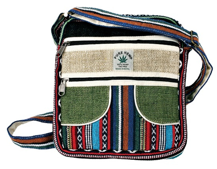 Hemp patchwork bag with Adjustable Strap