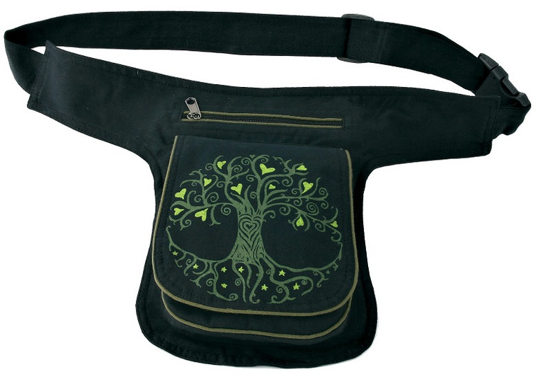 Adjustable Hip with with Tree Block Print - 3 zipper pockets