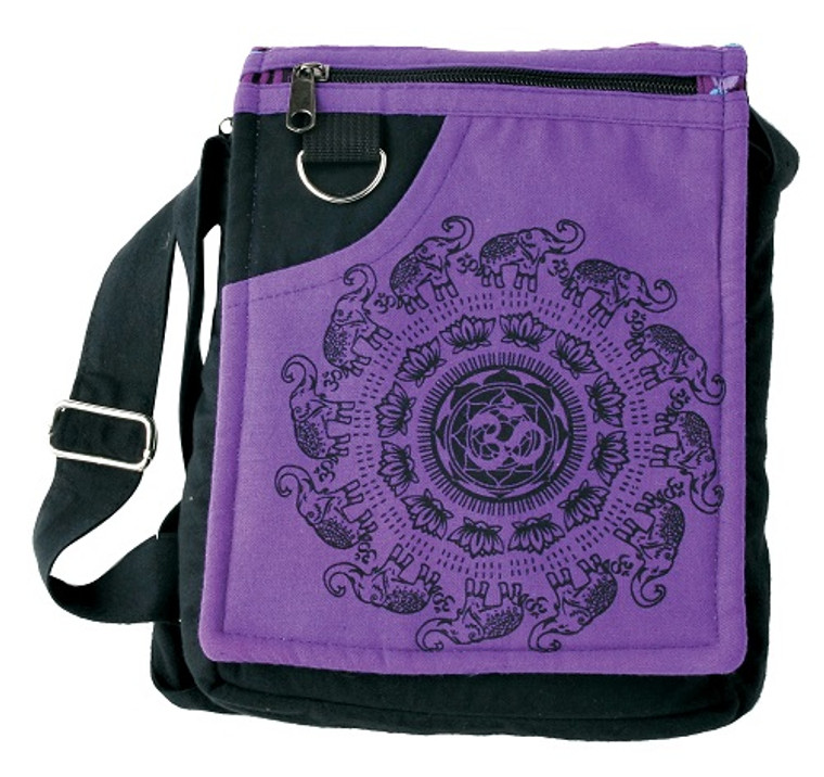 Small Bag with Om/Elephant Block Print on flap. Zipper close, adjustable strap, multiple pockets