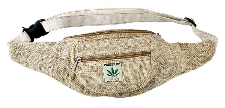 Hemp Fanny Pack / Festival Bag - 3 zip pockets and adjustable strap