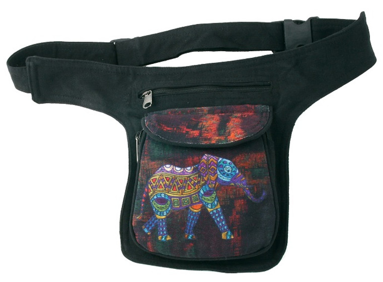 Hip Bag with Elephant print - 3 zipper pockets and adjustable strap