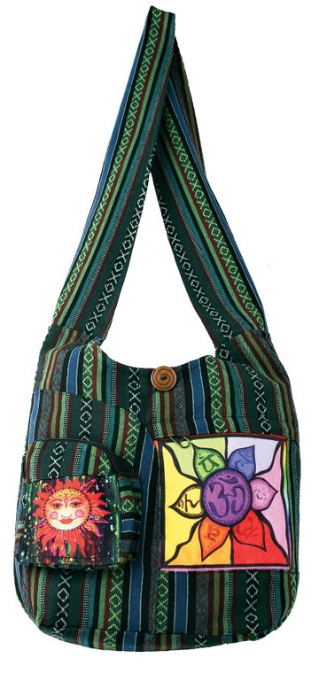 Barrel Bag with 2 front pockets. Sun front zip pocket,  Om Chakra Screen Print pocket. Zipper close, zipper inside pocket