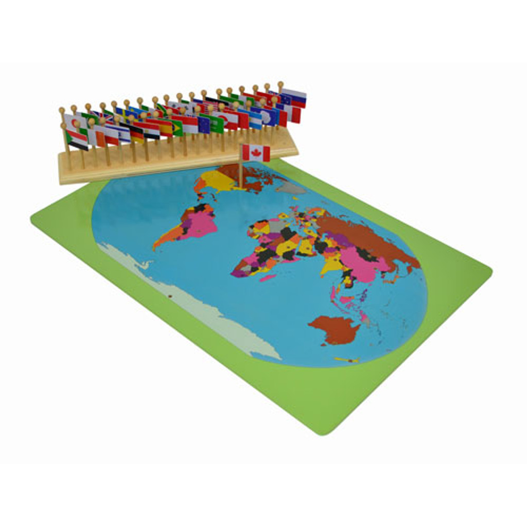 World Map with Flags Montessori materials | Thinkamajigs