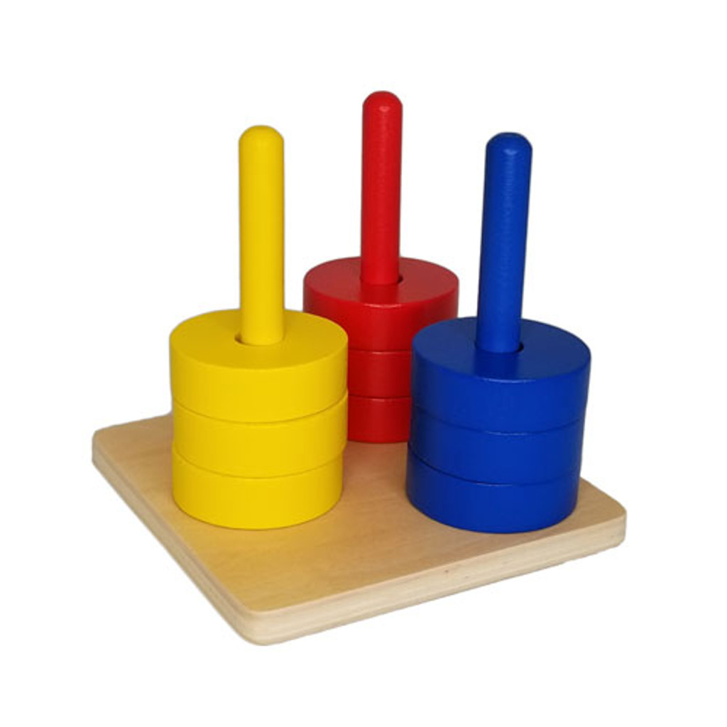 Coloured Discs on 3 Dowels