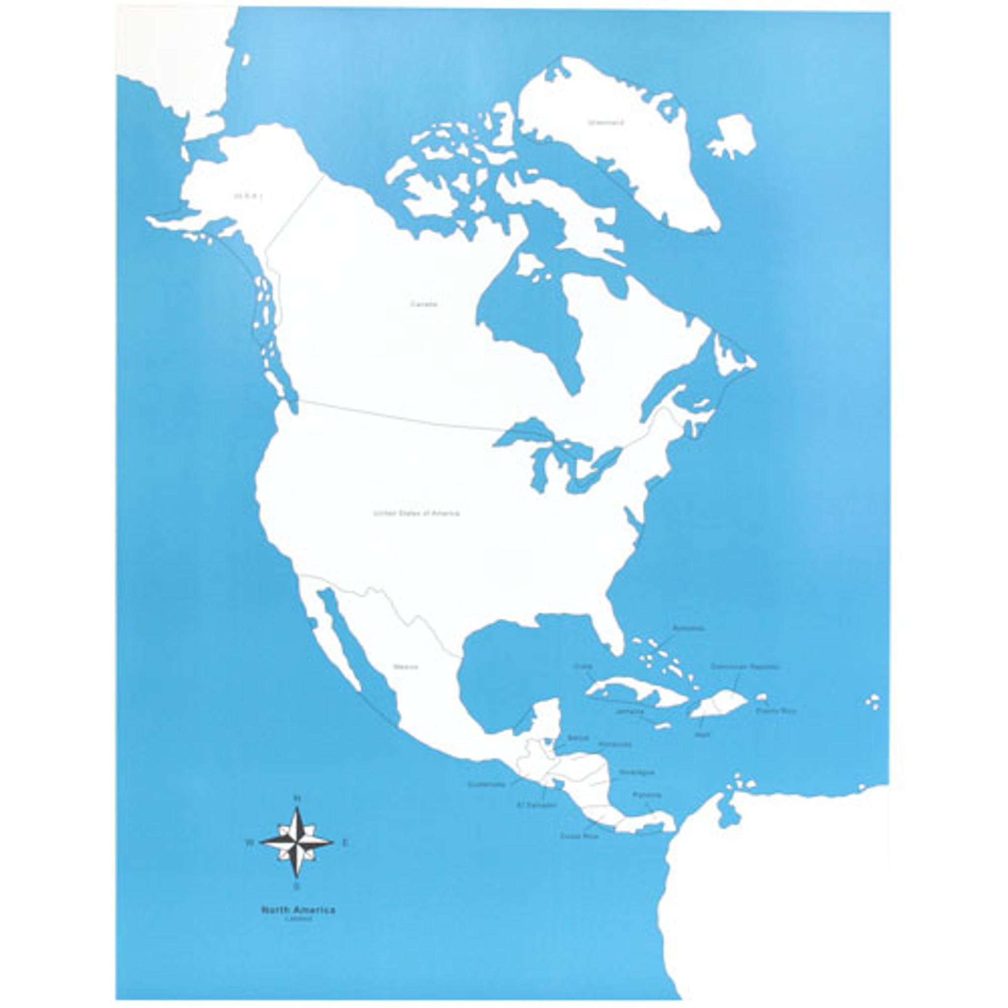 North America Map Labeled Montessori Materials