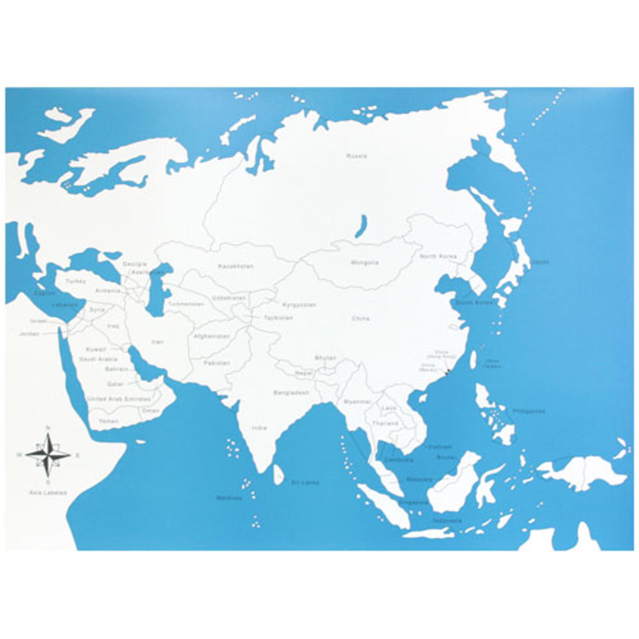 Asia Map labeled Montessori materials   Thinkamajigs