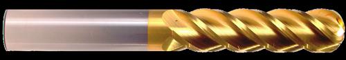 4 Flute, TiN Coated Ball Nose Carbide End Mill   RTJTool.com