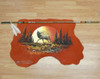 Indian Spear with Hand Painted Leather - Sunset Elk