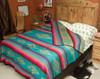 Southwestern Bedspread Saltillo Turquoise -Reverse Fold Down