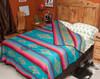 Southwestern Bedspread Saltillo Turquoise -Reverse turn down