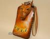 Southwestern Hand Tooled Leather Phone Case - Tan Horse
