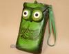 Southwestern Hand Tooled Leather Phone Case - Green Owl