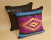 Pair Rustic Southwest Saltillo Style Pillow Covers - Woven Front/Canvas Back