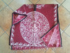 Red Mexican Style Blanket Poncho -Aztec Calendar