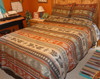 Nuevo Domingo Bedspread shown with two Shams
