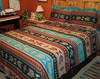 Nuevo Domingo Bright Bedspread shown with two Shams