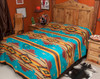 Southwestern Chevron Bedspread Turquoise -Front (queen shown for display)