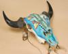 Hand Painted Buffalo Skull -Turquoise