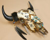 Buffalo Skull Adorned with Turquoise and Feathers