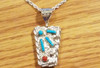 Reverse side - Zuni Needle Point Turquoise & red coral