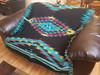 Native chevron blanket - midnight turquoise