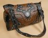 Faux Leather Purse - Brown Floral