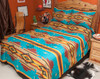 Southwestern Chevron Bedspread Turquoise King -Matching Shams Available Separately